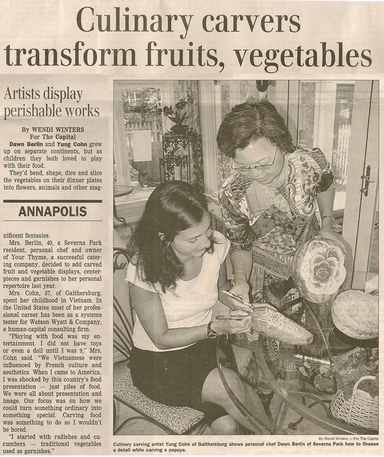 "Article from The Capital, Annapolis, Maryland, Aug. 13, 2008, page C-7, entitled ""Culinary carvers transform fruits, vegetables"""
