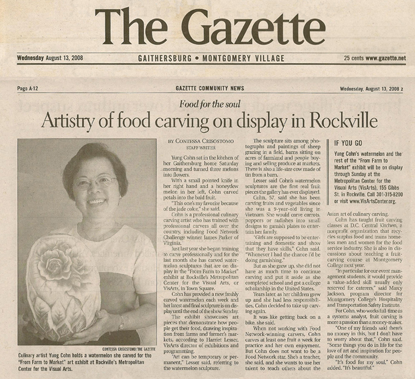 "Article from The Gazette, Montgomery County, Maryland, Aug. 13, 2008, page A-12, entitled ""Artistry of food carving on display in Rockville"""
